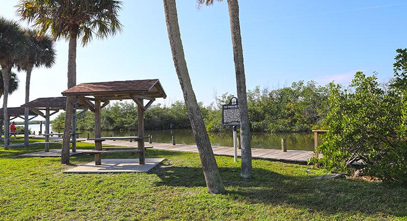 Picnic areas along waterfront boardwalk