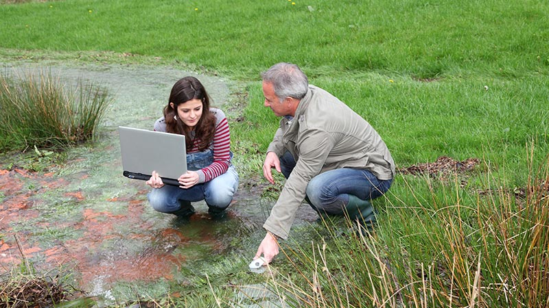 2 scientists performing tests in a marshy area.