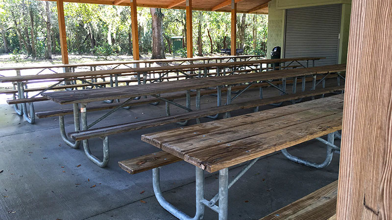 Multiple tables inside Harry Moore Pavilion