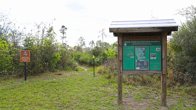 Information area in front of trail